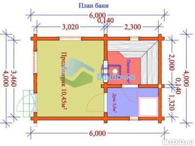 Как построить баню 6 на 4 из бруса 102